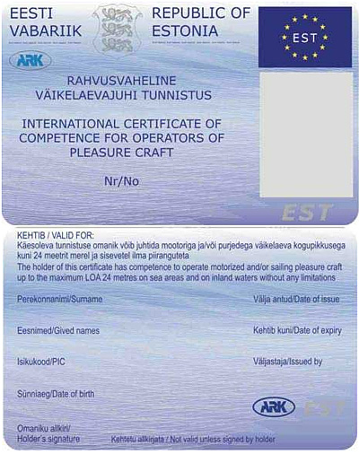 International certificate for pleasure craft operators